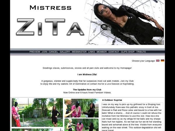 Mistress Zita Discreet Billing